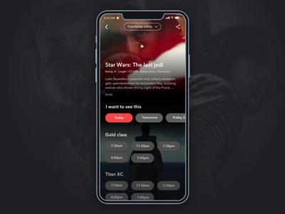 Cinema app concept - Select a time app design product design design cinema movie star wars concept user interface ux design ui design ui app