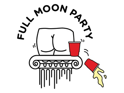Full Moon Party butt greek column illustration