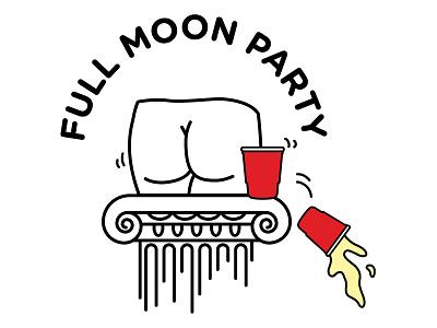 Full Moon Party butt greek column illustration