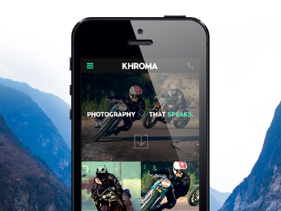 Mobile UI for a Photography Website