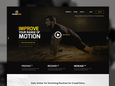 WOD Website Homepage wod workout ui website design flat ui video intro fitness crossfit exercise