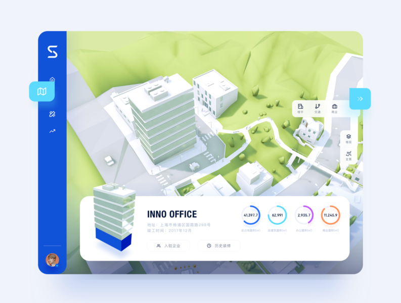 The map app business blue web desk app 3d ui