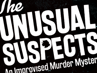 The Unusual Suspects distress comedy logotype branding logo