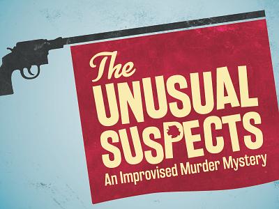 The Unusual Suspects (Color) color distress comedy logotype branding logo