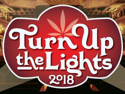 """""""Turn Up the Lights 2018"""" comedy show identity comedy 420 lettering identity type"""