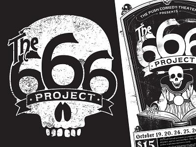 The 666 Project Badge Logo lettering identity design illustration spooky logo avatar branding badge logo skull badge