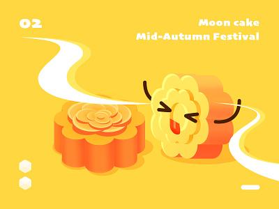 isometric moon cake food mooncake isometric series sketch illustration design ui color