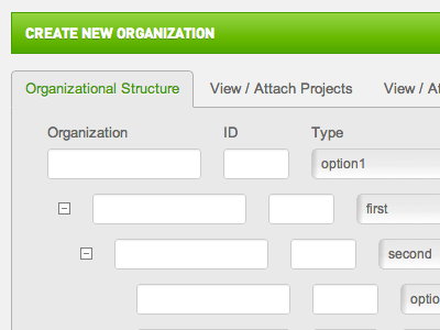 New Organization UI