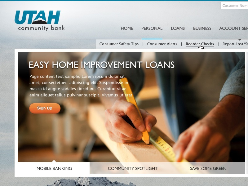 Utah Community Bank website design web layout