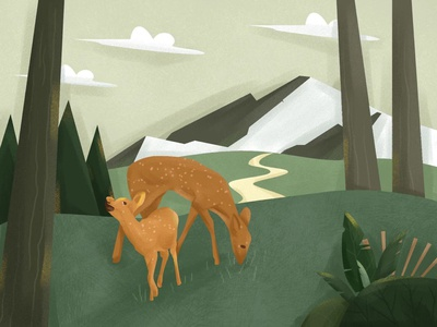 Small deer in the woods.