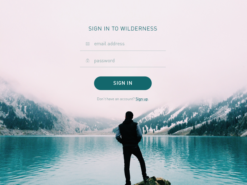 Log in screen wilderness login sign in log in ui daily ui the big 50