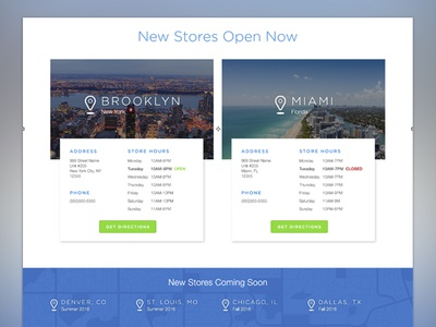 Store Location Cards landing page iconography locations ui patterns ui cards ux ui