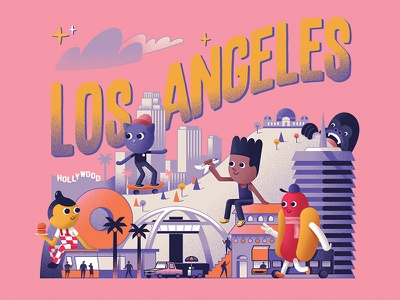 Los Angeles griffith observatory big boy hollywood capitol records lax theme bulding randys donuts los angeles lakers