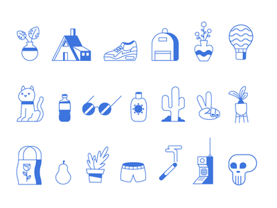 Icons equipment hot day summer music festival vibes sun glasses air max succulents icons