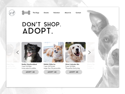 UI Concept for Animal Rescue & Adoption negativespace monochrome puppypersonals designforchange uidesign