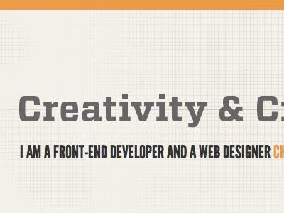 Creativity & Craftsmanship design portfolio league gothic vitesse orange tan