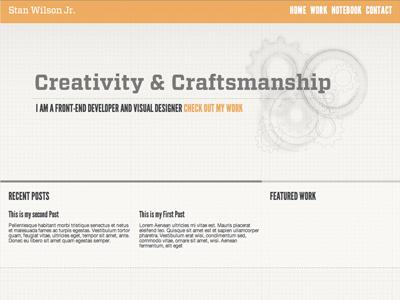 Creativity & Craftsmanship Site Layout orange illustration gears vitesse league gothic