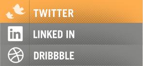 Social Sidebar social twitter linkedin dribbble web design orange gray