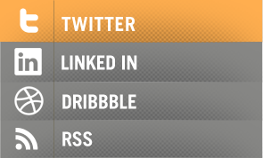 Social Sidebar dribbble twitter web design linkedin orange grey social media