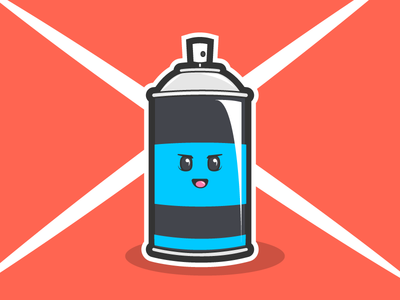 Spray Paint Can Guy Man character eyes mouth animal monster inanimate object spray paint can color graffiti vandalism vandal destroy art create spray paint face mask creature cartoon cute adorable tool illustrator cs6 adobe illustration