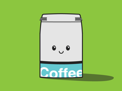 Coffee Bag Guy! coffee bag guy dude animal being eyes mouth grinds caffeine strange character creature morning adorable cute face adobe illustrator cs6 illustration cartoon shadow kitchen