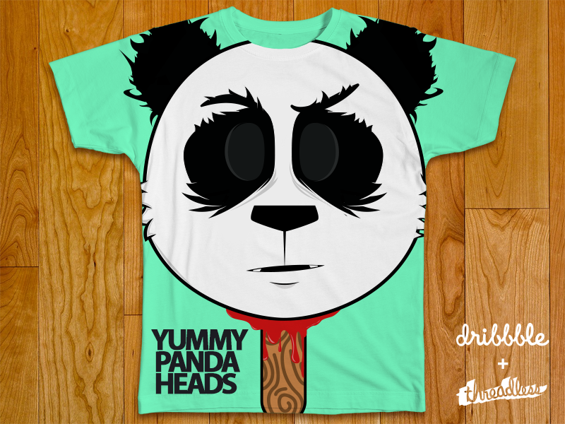 Yummy Panda Heads threadless dribbble comp shirt clothing animal popsicle yummy head illustration business decapitated animal heads