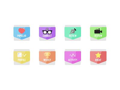 Appsting.com Badges Version 2 appsting app icon badge popular star heart glasses profile startup pen video