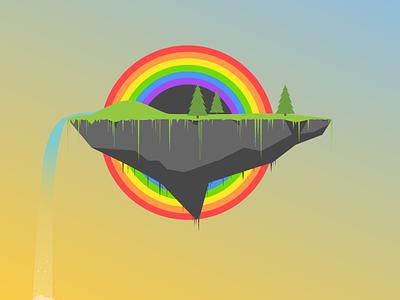 Floating Rainbow Island art clean color flat floating rainbow island tree waterfall water sky illustration
