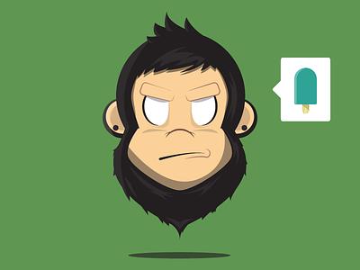 Floating Monkey Face monkey chimp face illustration eyes hair cute animal character illustrator digital head