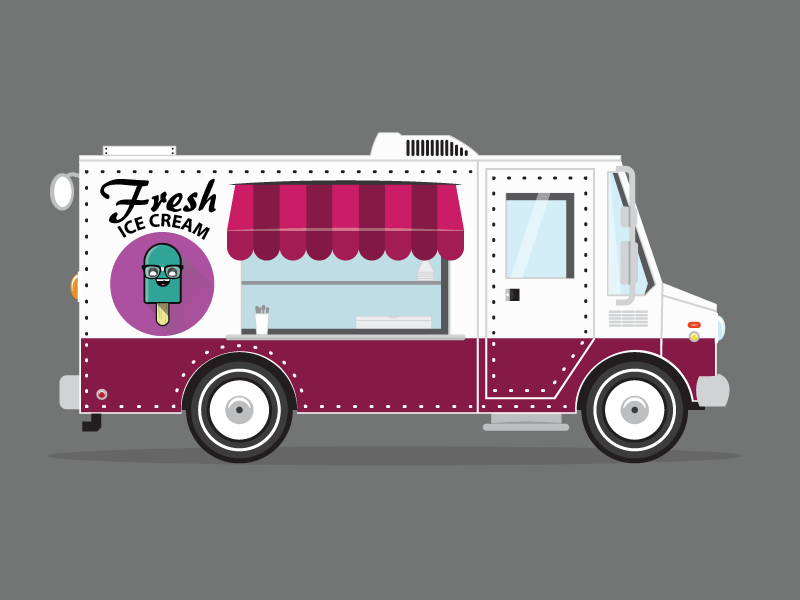 Ice Cream Truck ice cream truck car vehicle cute illustration illustrator character wheels popsicle light vector