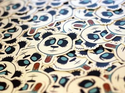 Panda Head Stickers panda head sticker mule animal eyes mouth nose contest illustration design character