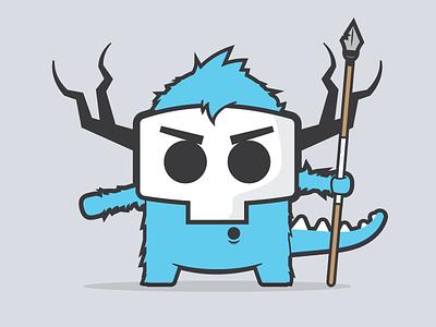 Hunting Monsters colors contest vector illustrator character illustration horns tribe spear mask hunting monster