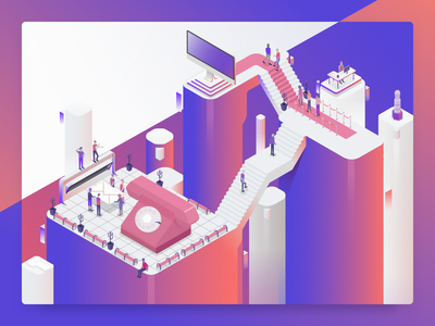 Dixa: Chaos to Order isometric customer service vector sort of flat art illustration illustrator 2d