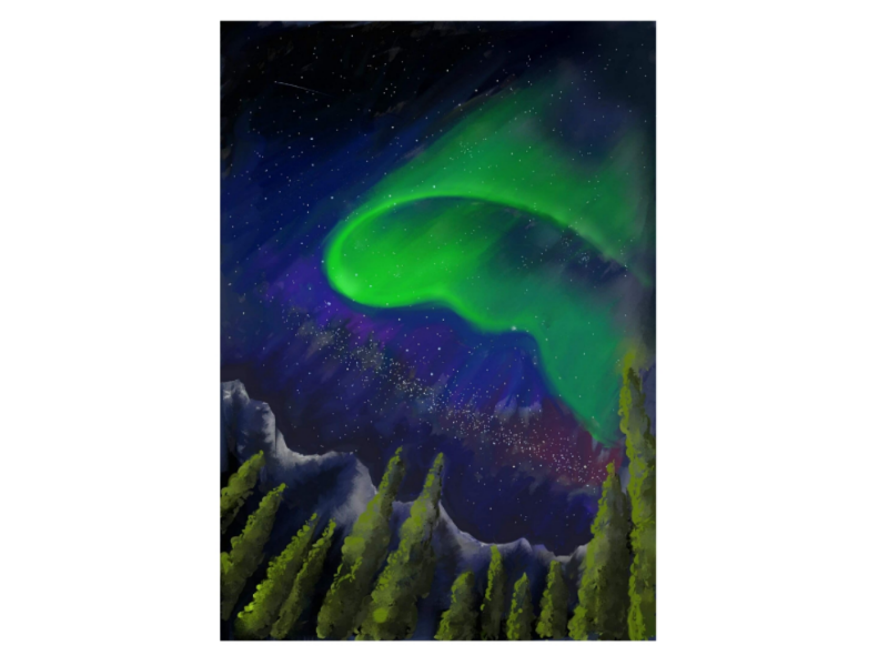 Northen Lights freehand sketch digital painting