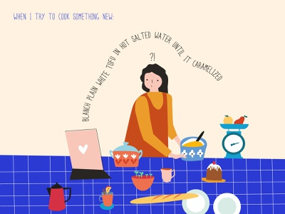 When I try to cook something new minimal flat design vector illustration