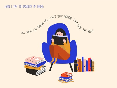 When I try to organize my books vector illustration flat