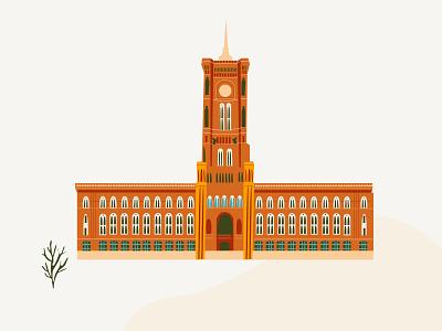 Berlin Rathaus minimal vector illustration flat