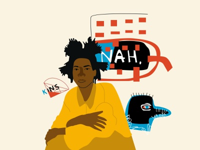 Jean-Michel Basquiat illustrator branding design minimal vector illustration flat
