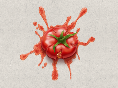 Squashed Tomato for april fools' day gift icon illustration photoshop april fools day wladza vector raster squashed photorealistic process tomato juicy