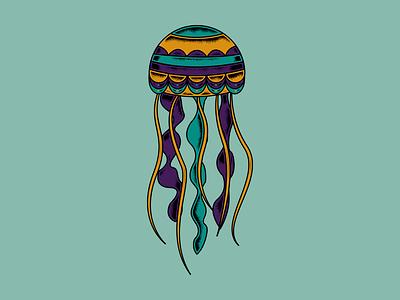 Jelly teal purple orange colors ocean fish water jellyfish