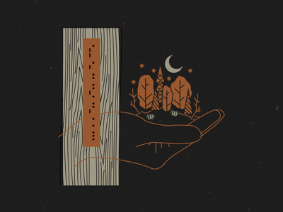 september cipher 05 woodgrain night autumn fall forest nature hand leaves trees pumpkins stars moon code morse code morse daily wood