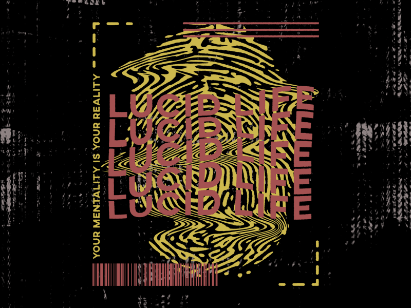 Lucid Life mental aesthetic modern thumb print print red pink yellow glitchy glitch trippy trip