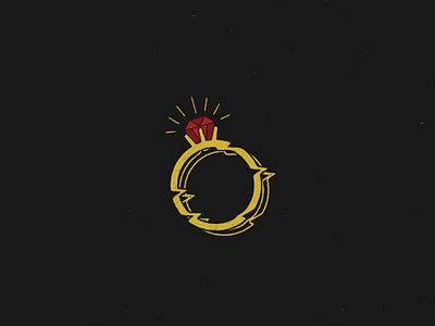 Ring illustration simple minimalism minimalist sparkle shine bling red yellow warped warp glitch jewel jewelry gold ruby diamond ring