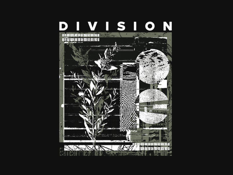 Division industry wires mixed mix messy collage textures texture white shirt design design nature green simple merch floral
