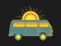 Traverse road trip trip road van vehicle tour vacation travel yellow orange blue nature sun bus