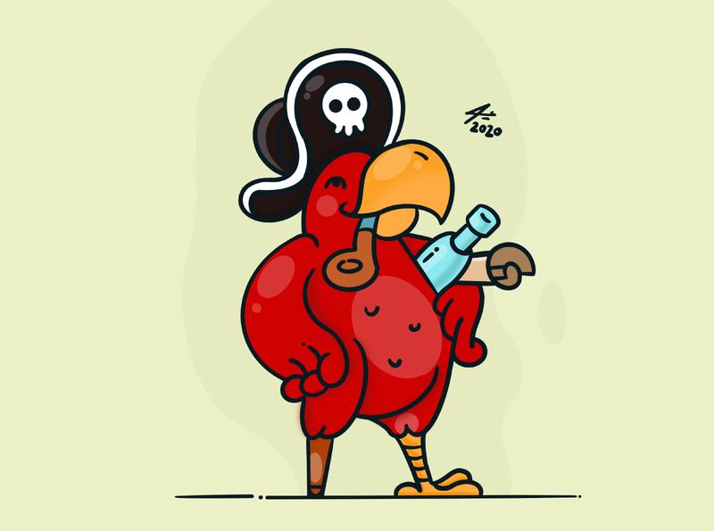 Pirate parrot logo illustrator toon draw digitalart sketchbook illustration art parrot procreate drawing