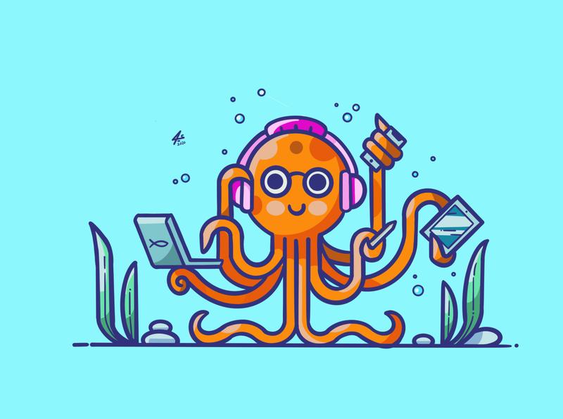 Octopus connections vector draw art illustration cartoon logo procreate sketchbook digitalart octopus logo drawing