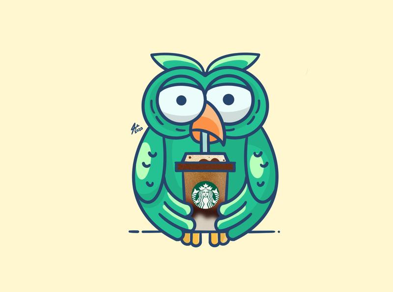 Starbucks Owl cartoon design owl logo owl starbucks sketchbook digitalart art draw illustration drawing
