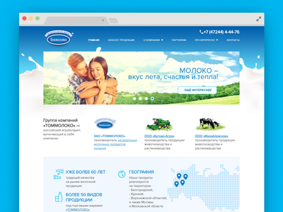 Tommoloko Natural Milk Products web design tommoloko blue natural milk grid web