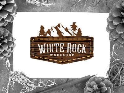White Rock Workshop Label logo label white rock handcrafted leather handmade workshop wooden